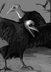 crebain2 amd a vulture by Yzah