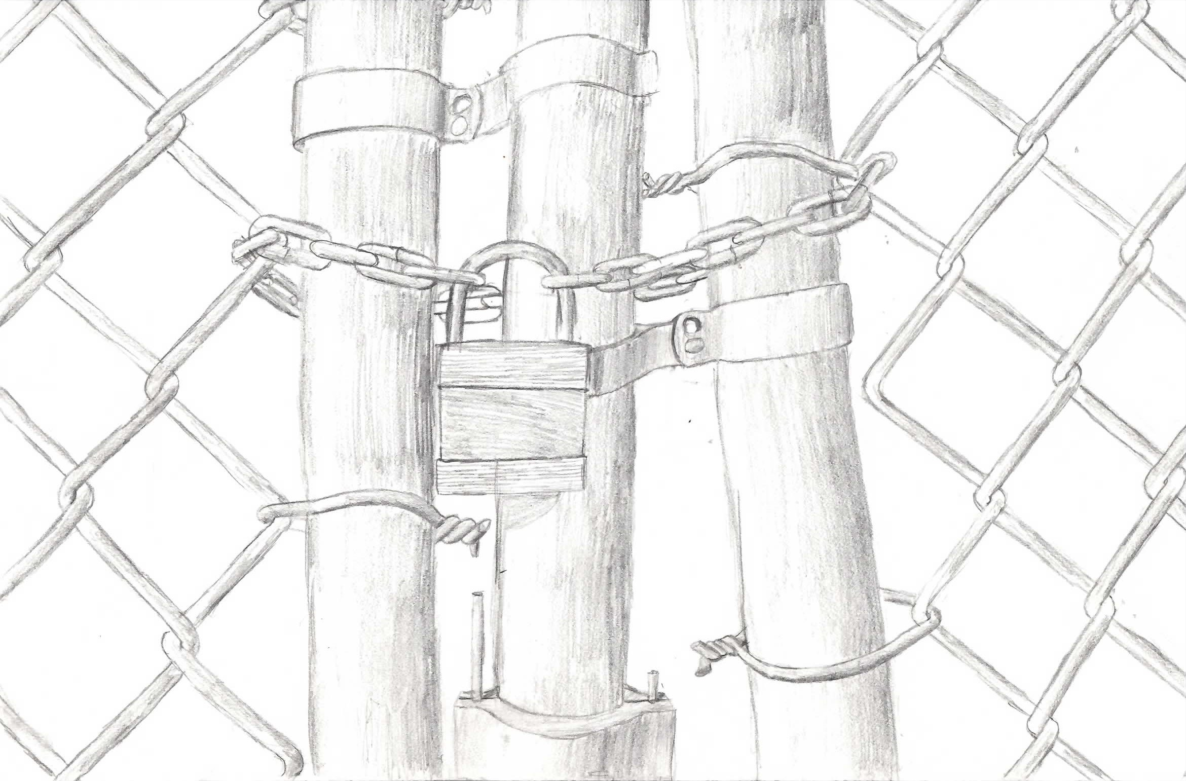 fence drawing. Chain-link Fence Gate By Bagnome Drawing