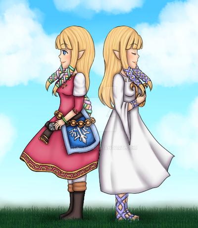 Day 2 - Skyward Sword Zelda (and Hylia) by Juliana1121