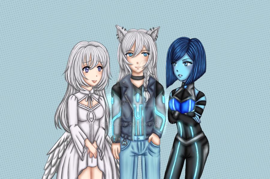 Comm - Yukihime, Tesai and Celeste by Juliana1121