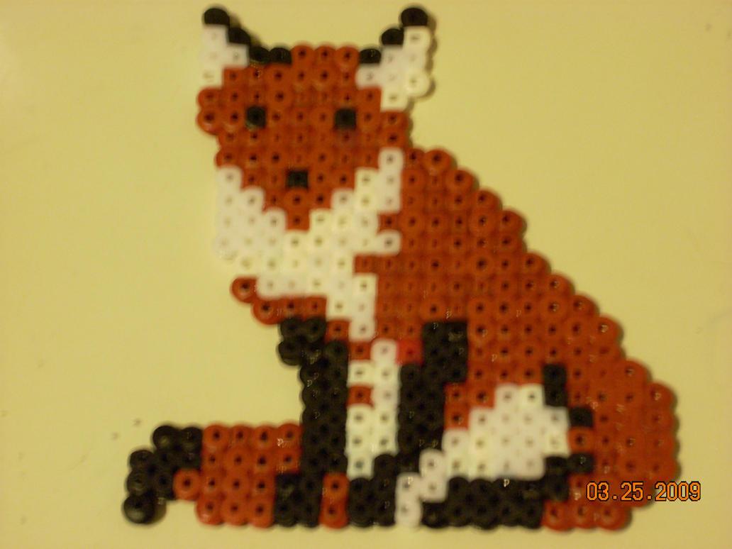 perler fox by poke7vosejpka7artist on deviantart