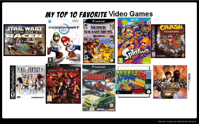 My top ten favorite video games by SKULLuigi on DeviantArt