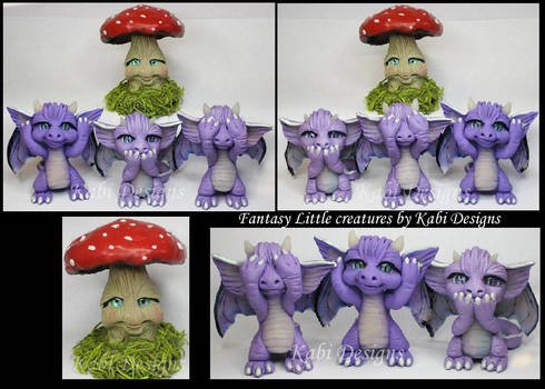 Handmade Polymer clay Wise Dragons