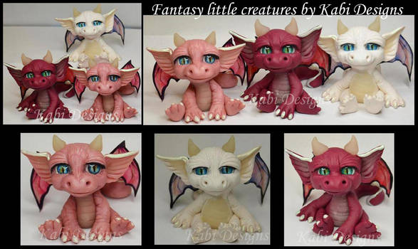 Little Dragons Handmade with polymer clay ooak