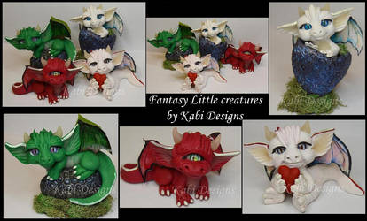 Little Dragons Handmade with polymer clay Cute