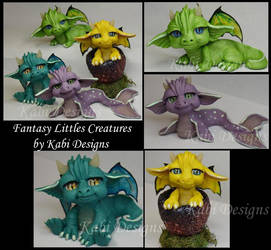 Littles Dragons Handmade with polymer clay Cute