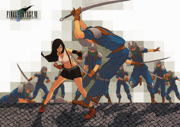 Tifa vs Soldiers by Sourya