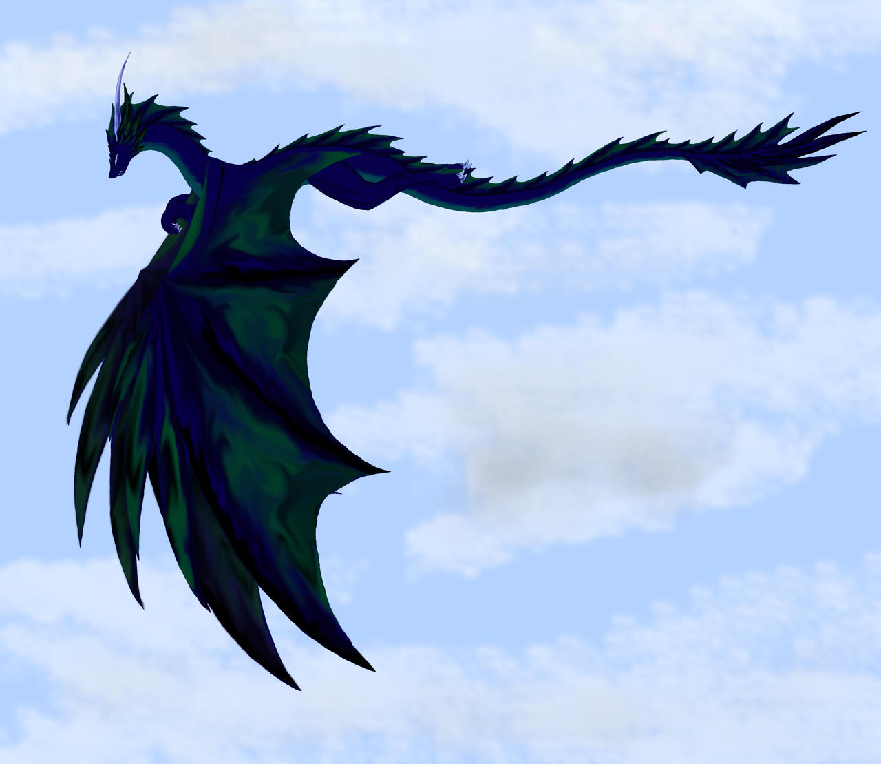 Blue Dragon Flying Flying dragon by dakuness