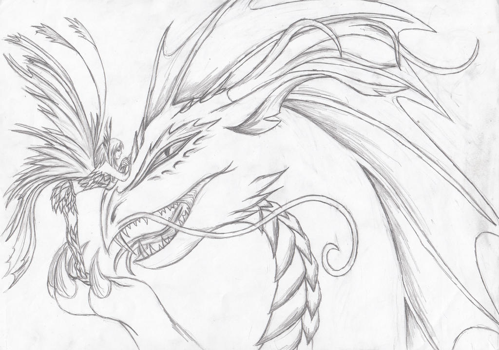 Fairies And Dragons Drawings The fairy and a dragon by