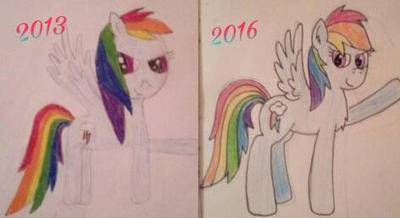 Rainbow Dash Redraw My Old Drawing by ThunderBloom26