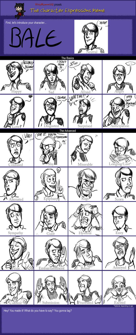 Character Expression Meme: Bale by Senselesssquirrel