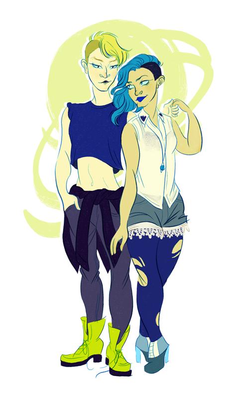 Haruka and Michiru by DumonchelleDraws