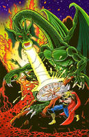 Thor vs FinFangFoom color by Hendercrazy