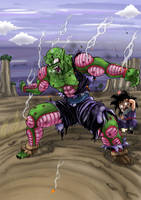 Piccolo and kids Gohan  by q10mark