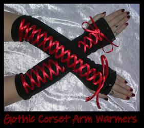 Goth Lolita Corset Arm Warmers by ZenAndCoffee