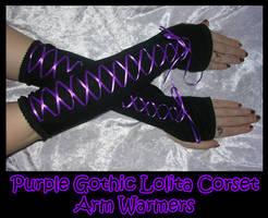 Purple Goth Lolita Arm Warmers by ZenAndCoffee