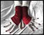 Red Velvet Fingerless Gloves