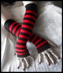 Red - Black Stripe Arm Warmers