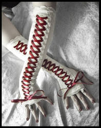 Scarlet Corset Arm Warmers by ZenAndCoffee