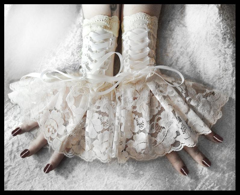 Solstice Corset Fingerless Glove Cuffs by ZenAndCoffee