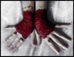 Undead Lace Fingerless Gloves by ZenAndCoffee