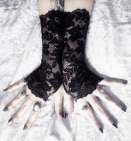 Hathor Long Lace Fingerless Gloves by ZenAndCoffee