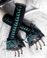 Woodland Wyvern Corset Laced Up Arm Warmers by ZenAndCoffee