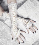 Alabaster Maiden Corset Laced Up Arm Warmers