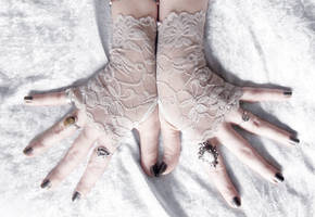 Dreams of Dust Long Lace Fingerless Gloves by ZenAndCoffee