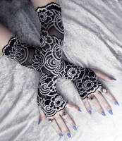 Isidore Lace Extra Long Arm Warmers by ZenAndCoffee