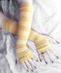 Mustard Yellow Striped Arm Warmers