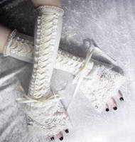 Ivory Towers Victorian Corset Laced Up Arm Warmers