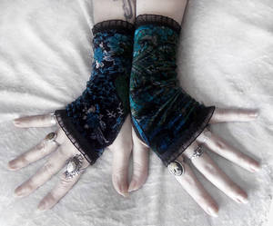 Amsonia Velvet Fingerless Gloves