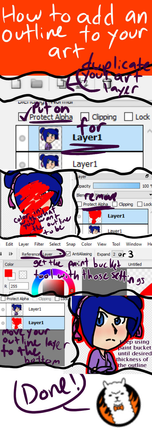 How To Add An Outline To Art In FireAlpaca by FireAlpacaHelper on