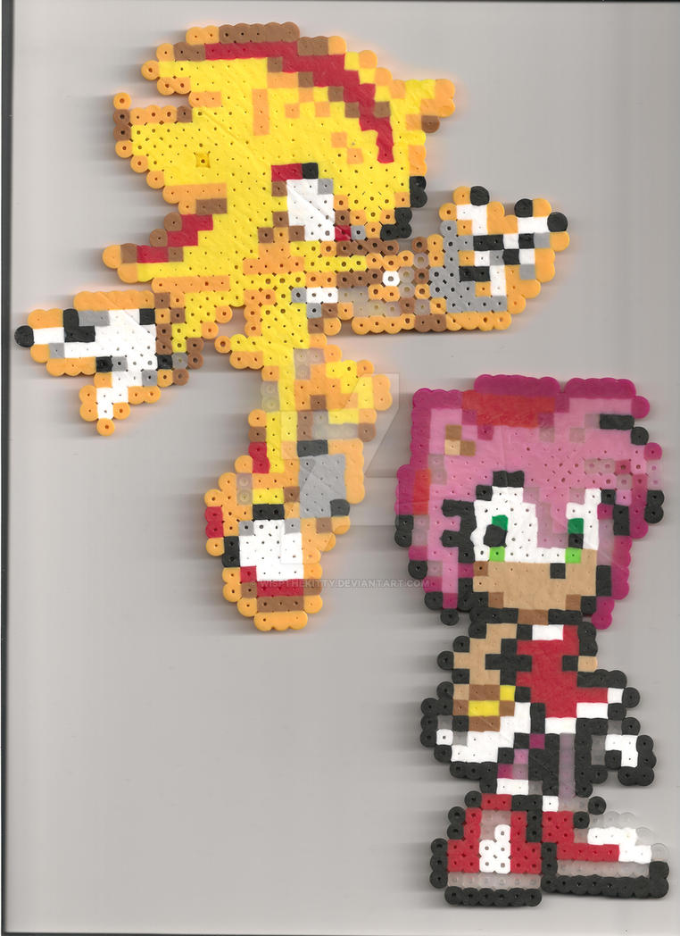 Amy Rose And Super Shadow Perler Beads By Wispthekitty On Deviantart