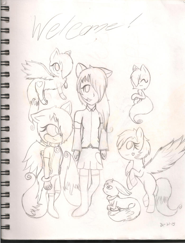Welcome! (My First Sketchbook drawing by WispTheKitty