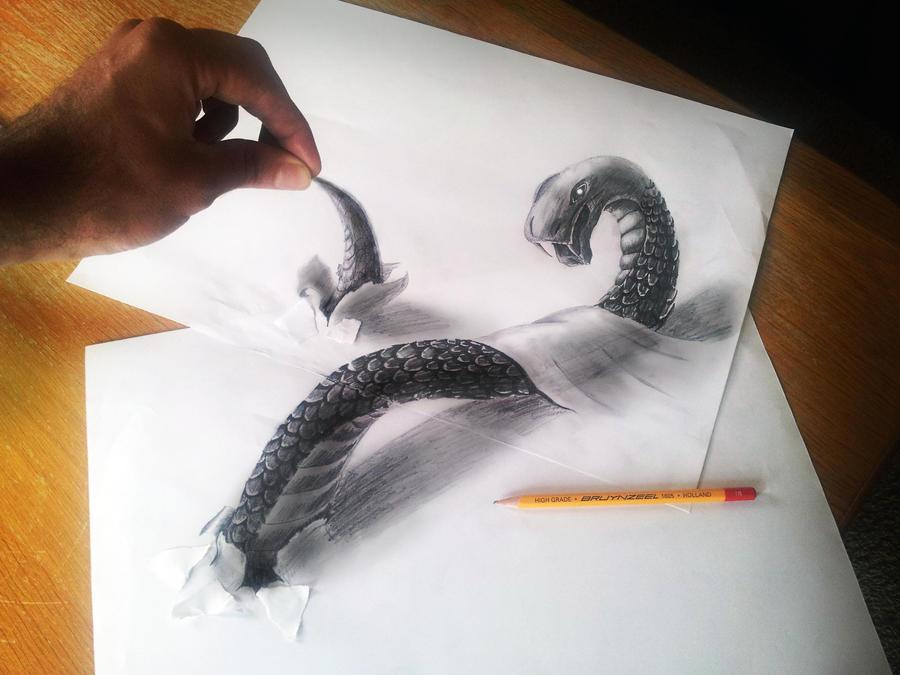 snake by jjkairbrush d5i2x85 Amazing 3D Drawings by Ramon Bruin