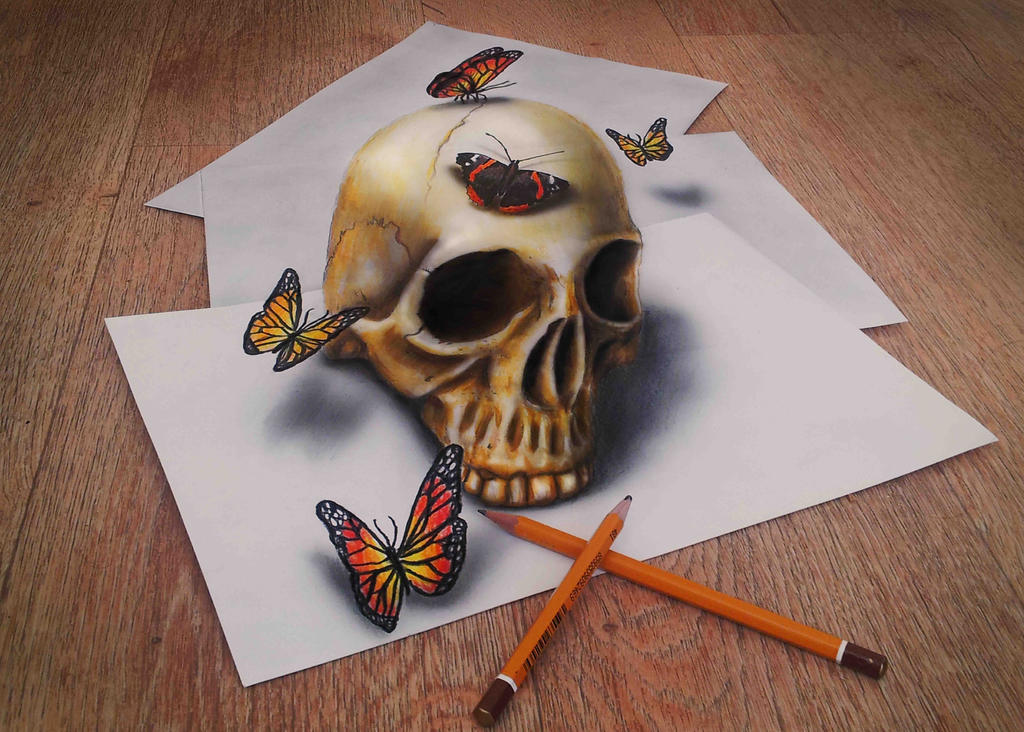 Skull and Butterflies by JJKAirbrush