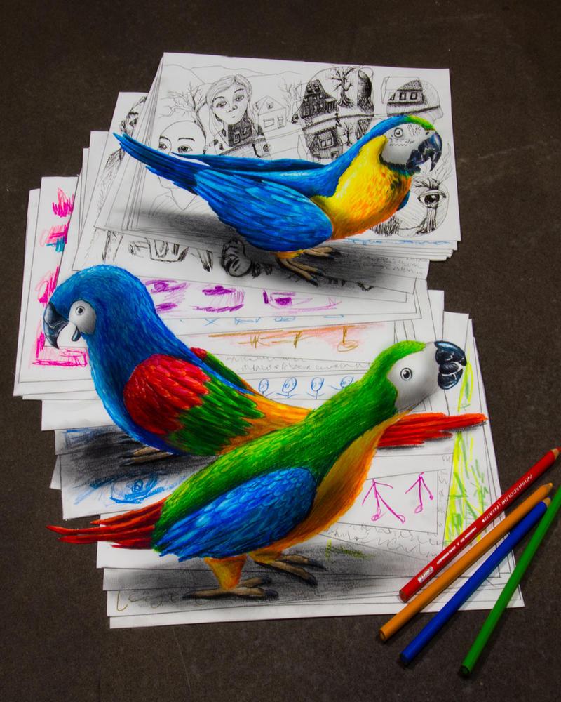 Parrots by JJKAirbrush