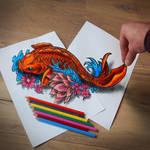 3d Koi tattoo drawing