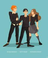 Ronald  Weasley, Harry Potter, Hermione Granger by AureliaRatata