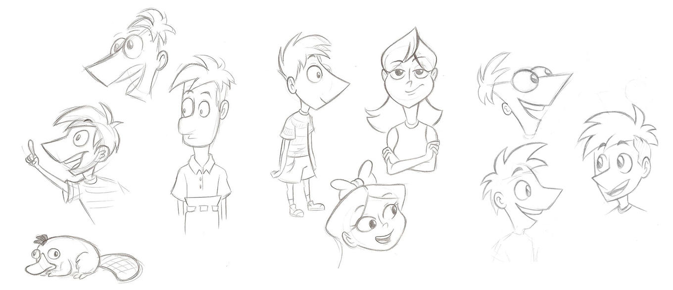 Phineas and Ferb sketches by NelmaThyria