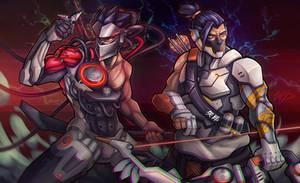 Genji and Hanzo - Overwatch by Puekkers