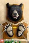 Black bear head and paws trophy tickle mount by SiberioTheBear