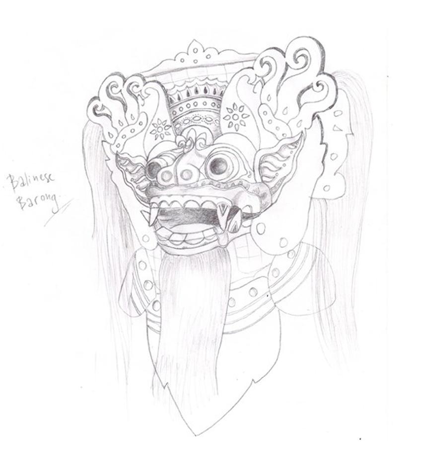Balinese Barong Sketch by faqeeh