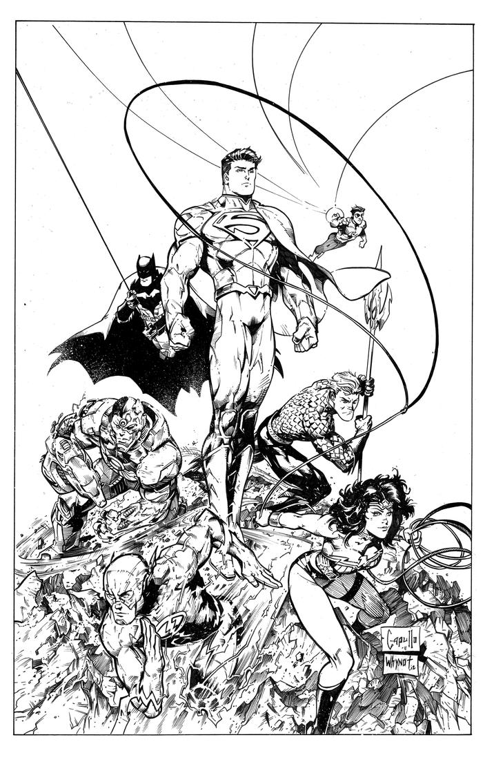 Coloring pages justice league - Justice League Cover By Jameswhynotinks