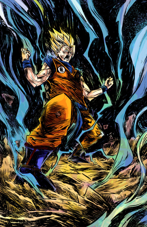 Super Saiyan Goku colors by JamesWhynotInks