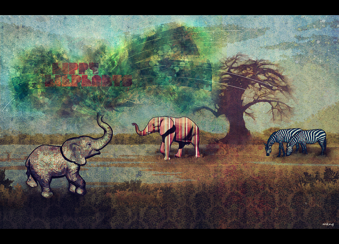 hippy elephants by Mkng