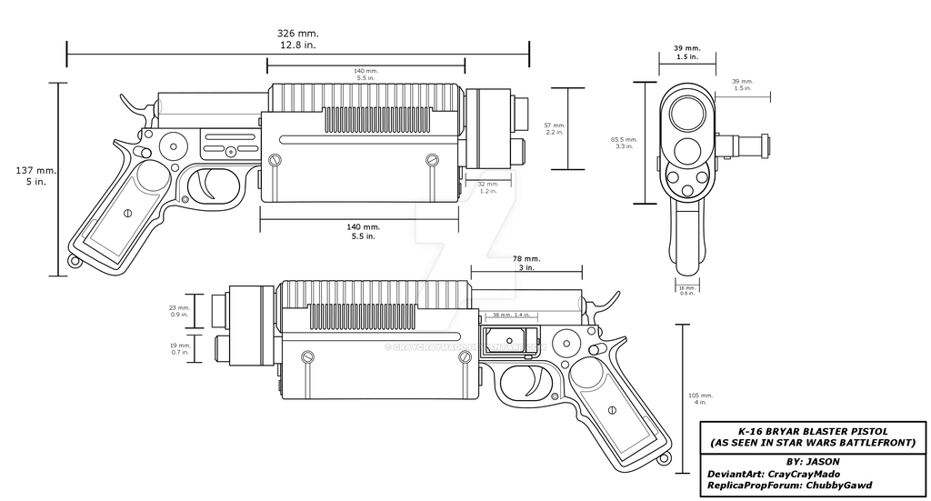 K 16 Bryar Blaster Pistol Blueprint Star Wars By CrayCrayMado