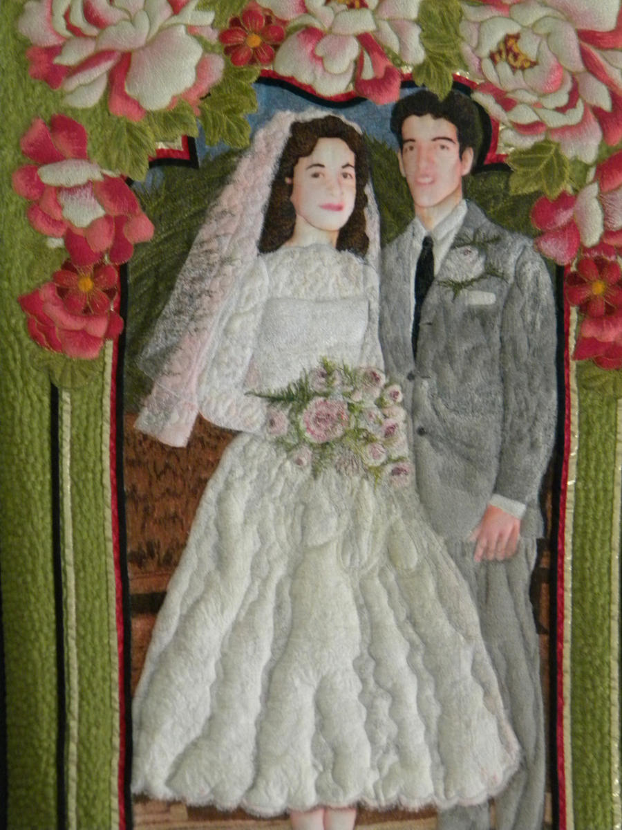 Mom and Dad's Wedding Art Quilt by someofmywork